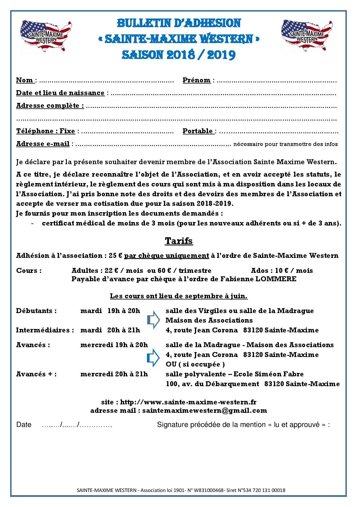 Bulletin d adhesion 2018 2019